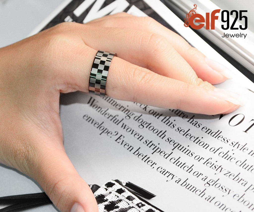 Checkers Steel Ring with Ion Plated Finish - stainless steel