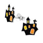 Children's Silver Castle Ear Studs with Epoxy, #13635