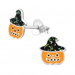 Children's Silver Pumpkin Ear Studs with Epoxy, #38692