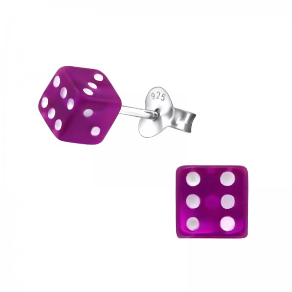 Colorful Ear Studs ES-DICE PUR/22260