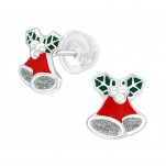 Premium Children's Silver Bell Ear Studs with Epoxy, #40381