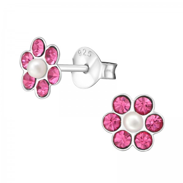Crystal Ear Studs CC-APS1263-P ROSE/WH/30908