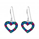 Children's Silver Heart Earrings with Crystal, #18314