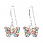 Children's Silver Butterfly Earrings with Crystal, #40263