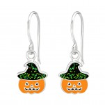 Children's Silver Pumpkin Earrings with Epoxy, #38691