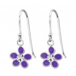 Children's Silver Flower Earrings with Crystal and Epoxy, #15136