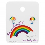 Silver Umbrella Ear Studs with Epoxy on Rainbow Card, #39678