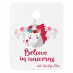 Silver Unicorn Ear Studs with Epoxy on Believe in Unicorns Card, #34204