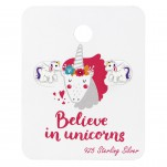 Silver Unicorn Ear Studs with Epoxy on Believe in Unicorn Card, #35369