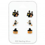 Silver Halloween Ear Studs Set with Epoxy on Card, #38716
