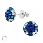 Silver Round Ear Studs with Genuine European Crystals, #41135