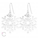 Silver Laser Cut Snowflake Earrings with Genuine European Crystals, #39210