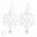 Silver Laser Cut Snowflake Earrings with Genuine European Crystals, #39212