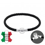 Leather Bracelet with Silver Lock Bead, #22502