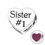 Silver Heart Sister Bead with Crystal, #10078