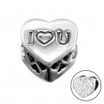 Silver Heart I Love You Bead with Crystal, #9930
