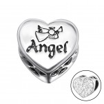 Silver Heart Angel Bead with Crystal, #10415