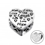 Silver Heart Love Bead with Crystal, #10606