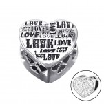 Silver Heart Love Bead with Crystal, #10607