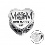 Silver Heart Mom Bead with Crystal, #10081
