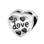 Silver Heart Love Bead, #5171