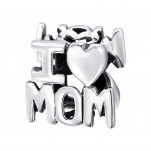 "Silver ""I Love Mom"" Bead, #13792"