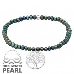 Silver Tree Of Life Bracelet with Fresh Water Pearl, #29438
