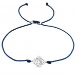 Silver Flower Adjustable Corded Bracelet, #37372