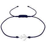 Silver Anchor Adjustable Corded Bracelet, #38126