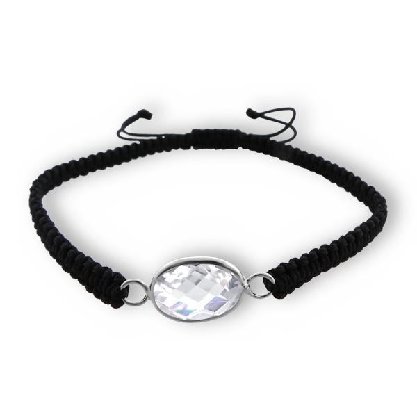 Corded Bracelet SHBR-CZAOV9X12-DCB RP BK/CRY/17184