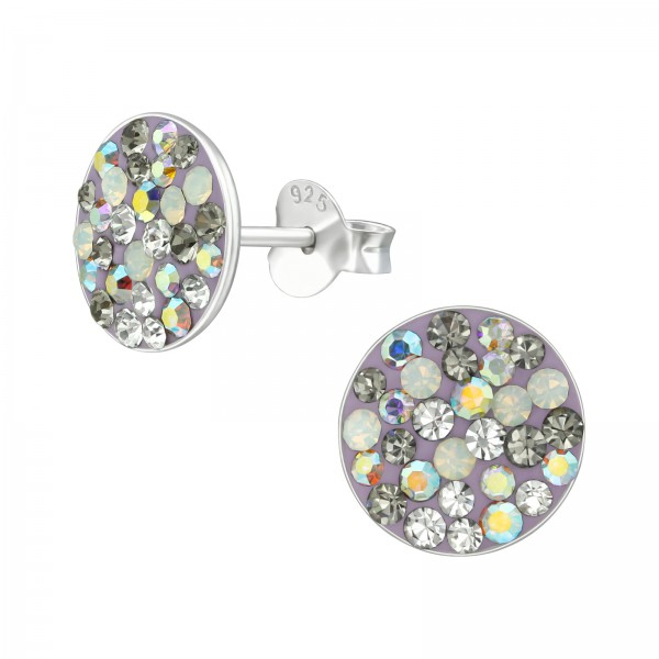 Crystal Ear Studs CCRD-42 PURPLE/MIX/39191