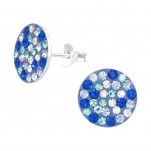Silver Round Ear Studs with Crystal, #41134