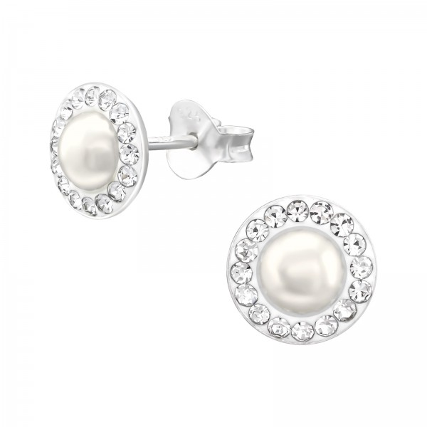 Crystal Ear Studs CCRD30-PPL5 CRY/CREAM/38604