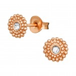 Silver Round Ear Studs with Crystal, #40981