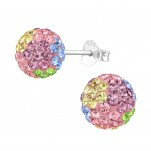 Silver Ball Ear Studs with Crystal, #39271