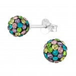 Silver Ball Ear Studs with Crystal, #39274