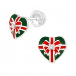 Premium Children's Silver Christmas Present Ear Studs with Cubic Zirconia and Epoxy, #40382
