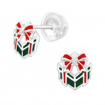 Premium Children's Silver Gift Present Ear Studs with Cubic Zirconia and Epoxy, #40385