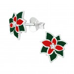 Silver Holly Ear Studs with Cubic Zirconia and Epoxy, #40391