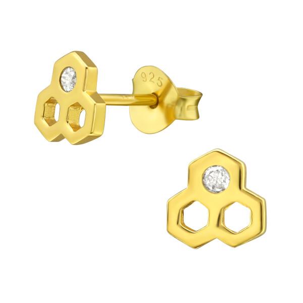 Cubic Zirconia Ear Studs ES-JB12256 GP/38417
