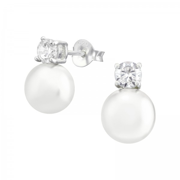 Cubic Zirconia Ear Studs ES-JB5505-PPL8 CRY/CREAM/39152