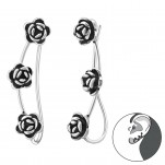 Silver Rose Ear Pin, #34862