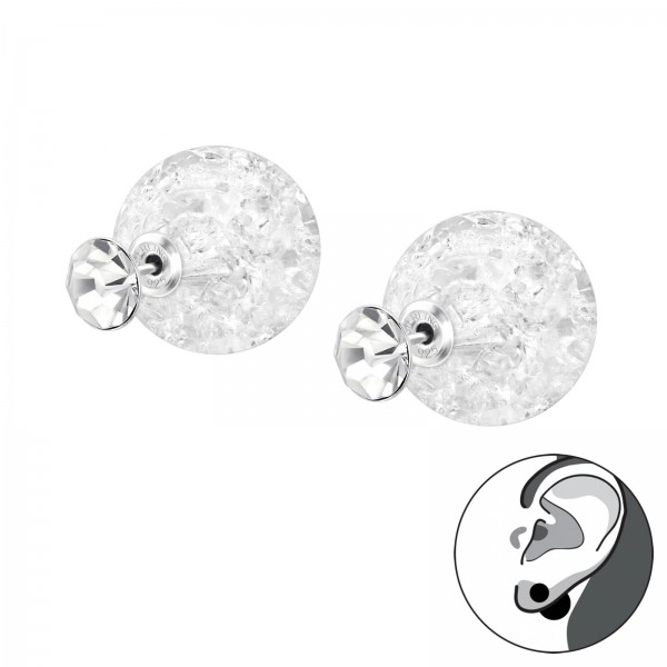 Ear Jackets & Double Earrings DE-ES09-CRY-PPL16-CRACK/33404