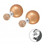 Silver Round Double Earrings with Crystal and Synthtic Pearl, #28163