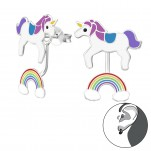 Silver Unicorn and Rainbow Ear Jacket with Epoxy, #35344