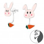 Silver Rabbit and Carrot Ear Jacket with Epoxy, #28141