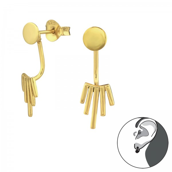 Ear Jackets & Double Earrings ES-APS1884-FL-APS2511-JB8685 GP/31387
