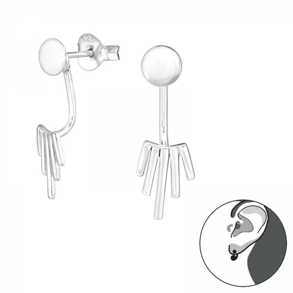 Ear Jackets & Double Earrings ES-APS1884-FL-APS2511-JB8685/31386
