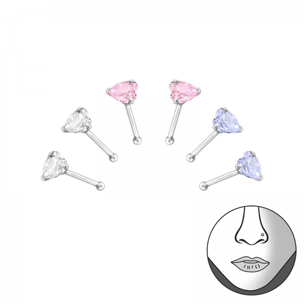Nose Studs & Clips NSCZ-HT-3MM-BALL-MIX/33355
