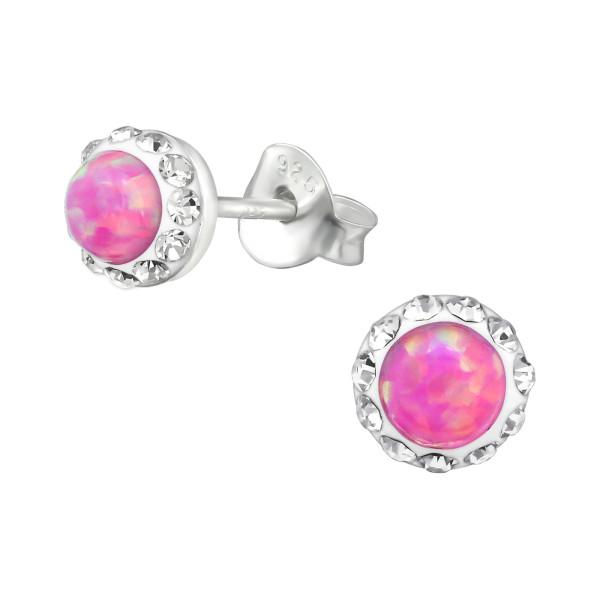 Opal and Semi Precious Ear Studs CC-APS1885-OP BUBBLE GEM/CRY/30259